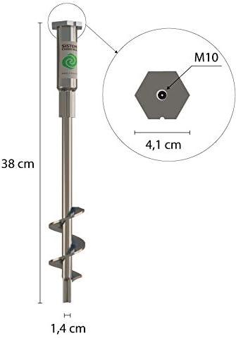 T-BLOCK Erdankerschrauben L/änge 50 cm /Ø 28-14 Sechskantkopf 41 mm mit festem M10 Stiel T-Griff und Kompass f/ür die Installation