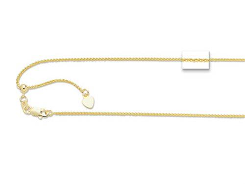 - Finejewelers 14K Yellow Gold 22 Inch bright-cut Adjustable Round Wheat Chain Necklace Lobster Clasp and Small Heart
