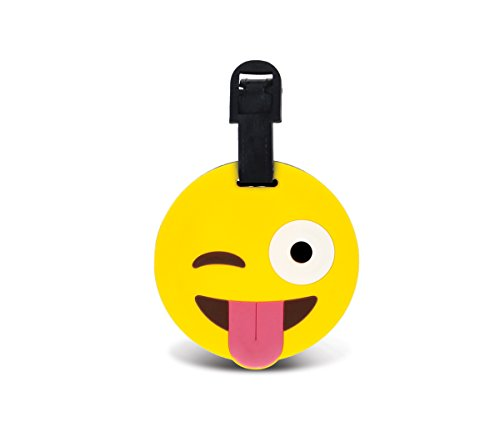 CoTa Global Taggage Face With Tongue and Winking Eye Emoji-Silicone Luggage - Shape Identify Face Your