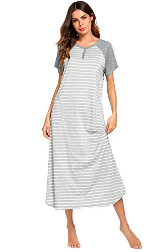 Ekouaer Long Nightgown Oversized Loungewear Sleepwear Full Length Sleep Shirt with Pockets - Long Sleepshirt