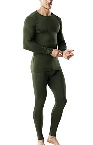 TSLA Blank Men's Microfiber Fleece Lined Top & Bottom Set, Thermal Set(mhs100) - Olive, Large ()