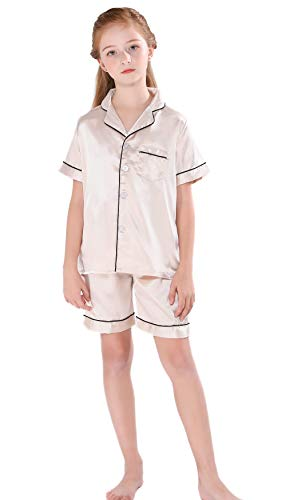 Horcute Pajamas Little Kid Sleepwears Set Pjs Clothes Short Sleeve Champagne 140# 6-7Y]()
