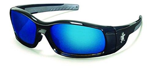 Crews SR118B Swagger Safety Glasses Blk w/ Blue Diamond Mirr
