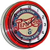 Pepsi Cola 5 Cents, Neon Clock, Bright Double 18 inch Neon