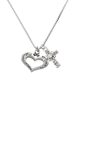 Heart with 3 AB Crystals - Courage Strength Wisdom Scroll Cross Necklace, (Strength Courage Faith Heart)