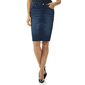 Rekucci Women's Jean-ius fit Unbelievable Pull-On Denim Skirt