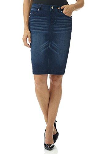 Skirt Tab Pencil Waist (Rekucci Women's Jean-ius fit Unbelievable Pull-On Denim Skirt (18,Midnight Whiskers))