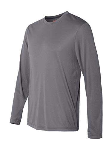 Hanes Cool DRI'Performance mens Long-Sleeve T-Shirt,Graphite,Large (S/s T-shirts Dry)