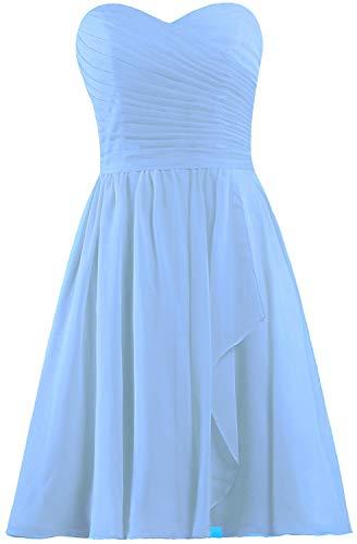 ANTS Women's Sweetheart Short Bridesmaid Dresses Chiffon Wedding Party Dress Size 20W US Pale Blue