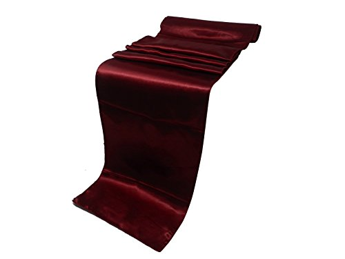 ELINA'S PACK OF 5 Wedding 12 x 108 inch Satin Table Runner Wedding Banquet Decoration (5, MAROON)