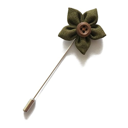 Sunny Home Vintage Men's Lapel Flower Handmade Boutonniere Pin with Button for Suit (Army Green)