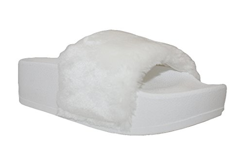 Soda Womens Fuzzy Flatform Slipper Casual Bath Outdoor Furry Creeper Sandal White Pltrm dS70mC5WC