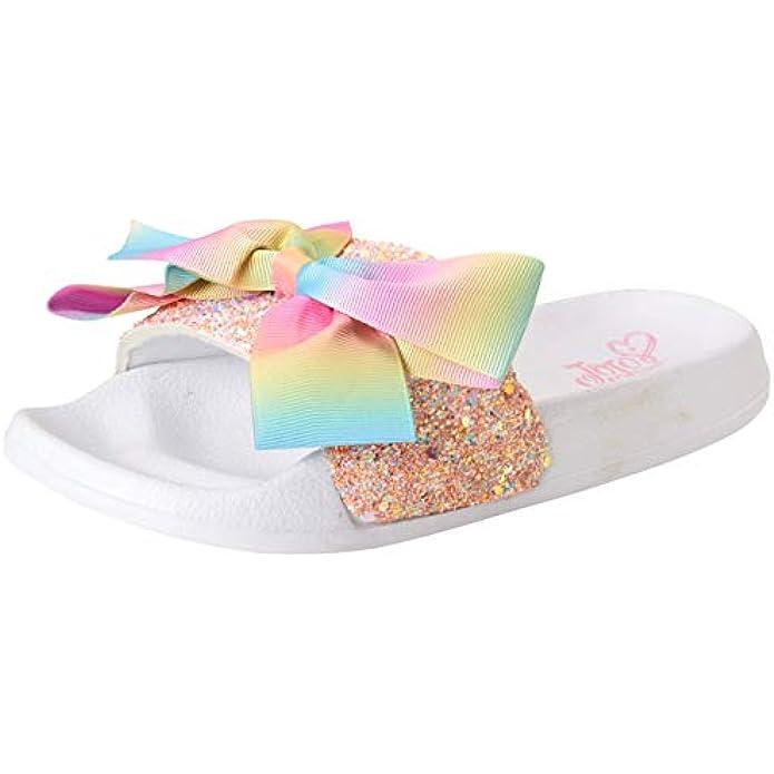 JoJo Siwa Girls Studded Open Toe Slide Sandals with Signature Bow (Little Kid/Big Kid)