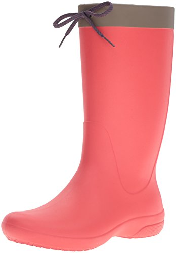 Crocs Women's Freesail Rain Boot, Flame, 7 M US