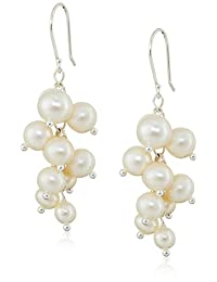 Round Bead and White Potato Freshwater Cultured Pearl Cluster Sterling Silver Drop Earrings