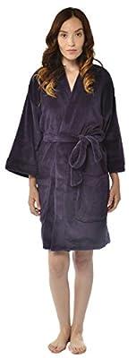 Leisureland Women's Plush Microfiber Fleece Kimono Short Robe
