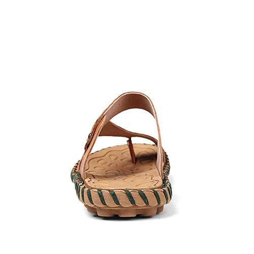 Cuero Zapatos Color Verano Playa De tamaño Sandalias para 3 EU 2 40 Color Antideslizantes Al De De Hombre Marrón Azul Marrón Aire Wangcui De Playa Zapatillas De Libre wIqnU7