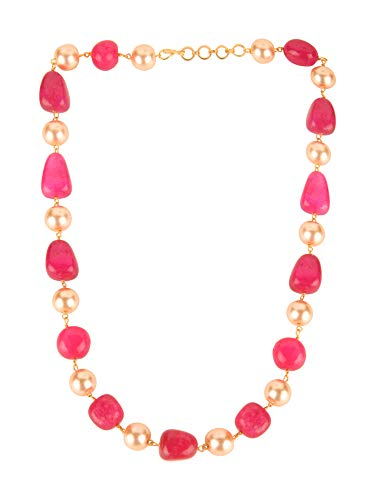 - Efulgenz Indian Bollywood Pink Ruby Tourmaline Pearl Beaded Strand Bridal Necklace Wedding Jewelry