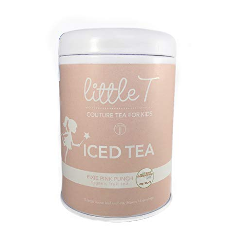 LITTLE T Kids Tea - Pixie Pink Punch Tin - Organic Herbal Tea (Iced) for Kids | Sugar-Free | Caffeine-Free | Antioxidant-rich | Immune-Boosting | Fruity Iced Loose Leaf Tea Sachets (makes 1 gallon)