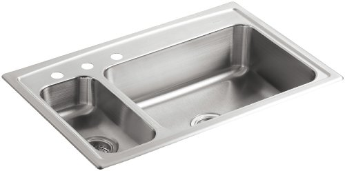 - KOHLER K-3347L-3-NA Toccata High/Low Self-Rimming Kitchen Sink, Stainless Steel