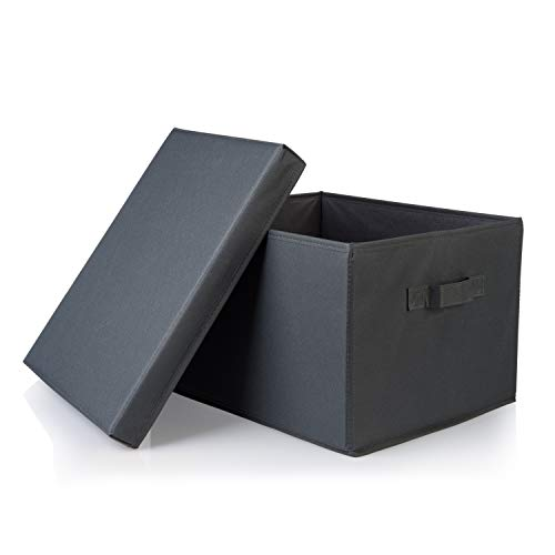 SEMAXE Collapsible File Storage Organizer, Decorative Linen Filing & Storage Office Box,Letter/Legal,Charcoal,1 Pack