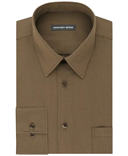 Geoffrey Beene Men's Classic Fit Wrinkle Free Solid Dress Shirt (Bisque, 18X34/35)