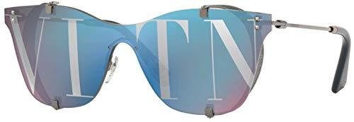 Valentino 0VA2016 Gunmetal/Mirror Blue/Silver Lens Sunglasses ()