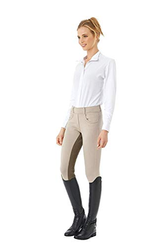 (Ovation Women's Euro Knit Melange Full Seat Cotton Tight Clarino Riding Tights, Beige/Fawn, Small (26 Regular))