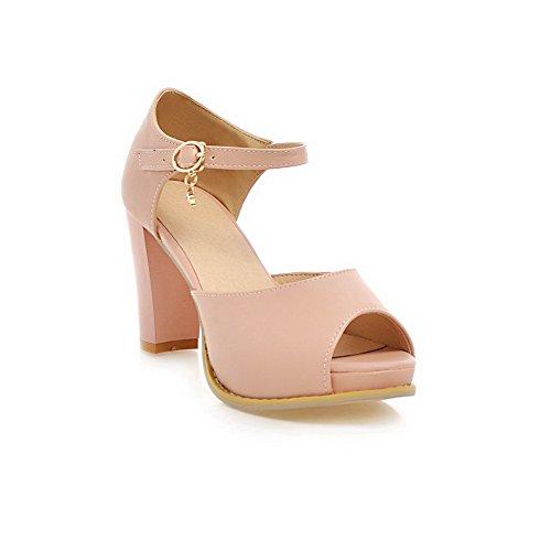 AllhqFashion Womens Pu Solid Buckle Peep Toe High Heels Sandals Pink yxPm4