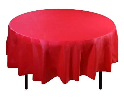 Exquisite 12-Pack Premium Plastic Tablecloth 84in. Round Table Cover - Red -