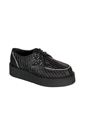 Pinstripe Satin Lace Up Creeper Mens Shoe - 12