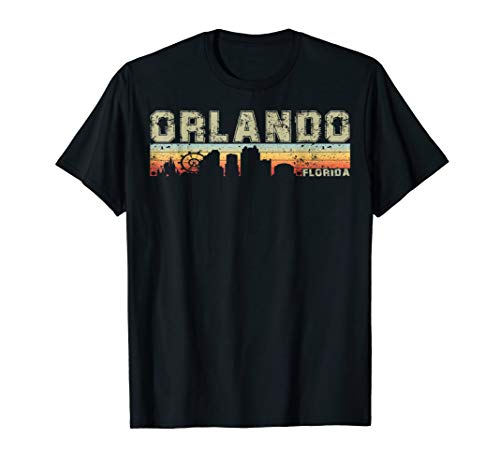 Retro Vintage Orlando City Florida Skyline Silhouette TShirt