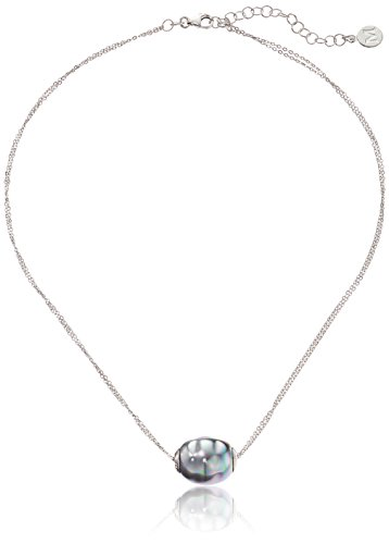 Majorica-Sterling-Silver-14mm-Grey-Baroque-Pearl-on-2-Row-Pendant-Necklace-162-Extender