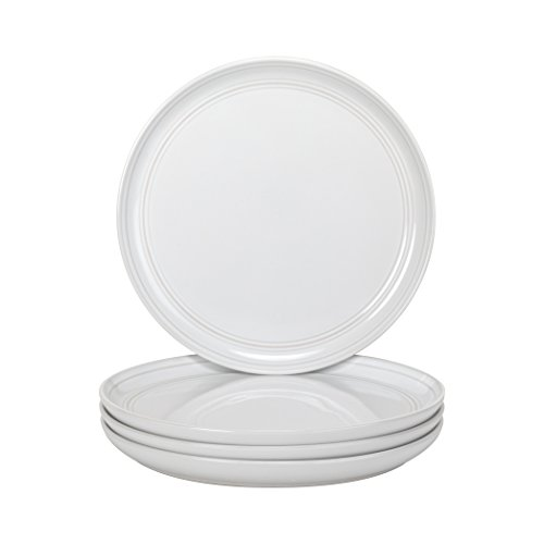 """10 Strawberry Street Double Line - White - 8.25"""" Salad Plate - Set of 4"""