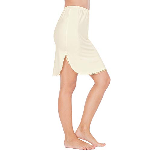 - Half Slips for Women Underskirt Short Mini Skirt with Floral Lace Trim Beige XXX-Large