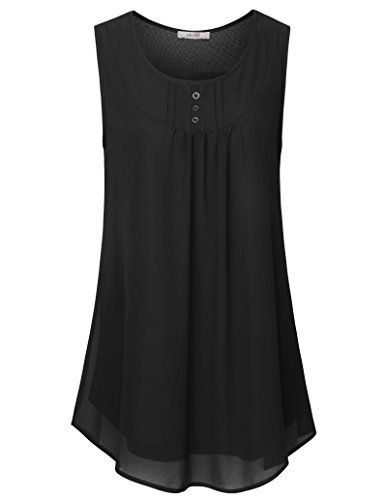 Vivilli Chiffon Summer Tunic Tops for Women,Sleeveless Tops for Women, Womens Casual Pleated Chiffon Blouse top Scoop Neck Loose Fit Tank Top Black XX-Large