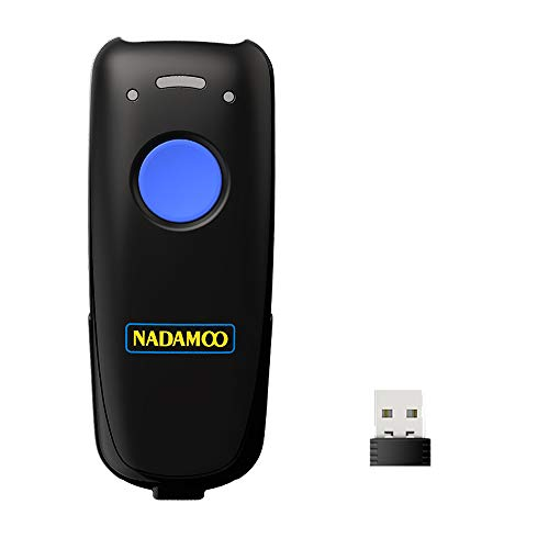 NADAMOO Mini Wireless Barcode Scanner, Compatible with Bluetooth Function & 2.4GHz Wireless & Wired Connection, Connect Smart Phone, Tablet, PC, CCD Bar Code Reader Work With Windows, Mac,Android, iOS