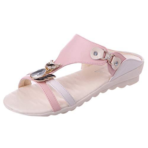 ◕‿◕Water◕‿◕ Women's Beach Slipper, Ladies Wedges Crystal Slipper Sandals Outdoor Rhinestone Hollow Slipper Bohemian Sandals Pink -