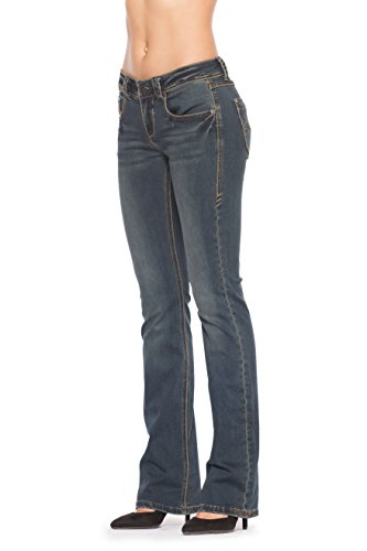 Rubberband Stretch Women's Bootcut Jeans (Pixie/Onyx) - Size 28 (Low Rise Straight Jeans)