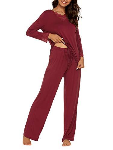 TIKTIK Womens Pajama Set Long Sleeve Sleepwear Scoop Neck Pjs Sets S-4XL