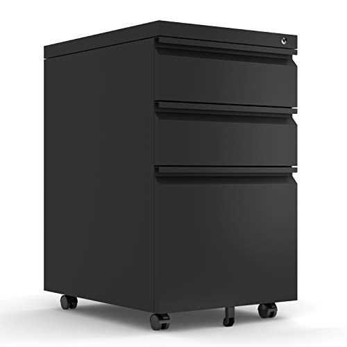 Mobile File Cabinet 3-Drawer Pedestal with Lock for Storage Use for Home Office (Black)