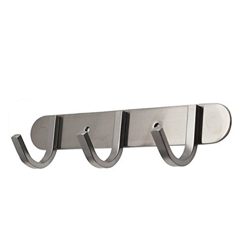 (Coat Hook Rack with 3 Square Hooks - Premium Modern Wall Mounted - Ultra durable with solid steel construction, Brushed stainless steel finish, Super easy installation, Rust and water proof)