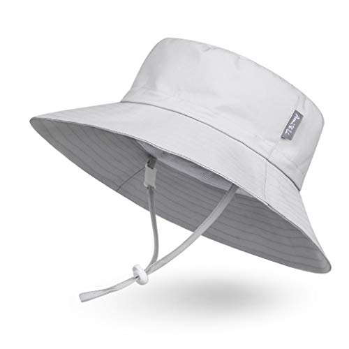 Ami&Li tots Adjustable Sunscreen Bucket Sun Protection Summer Hat for Baby Girl Boy Infant Kid Toddler Child UPF 50+ (L: 3-12 Years, Matte Grey)