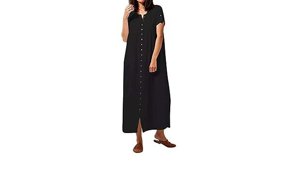 Cinnamou - Vestido para Mujer con Tirantes Sueltos de Verano Negro ...