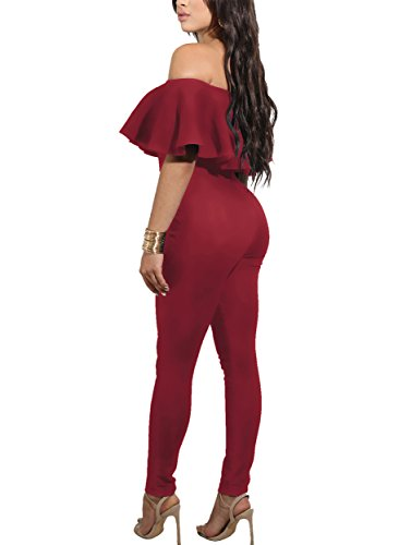 PRETTYGARDEN Off Shoulder Sleeve Hollow Out Sexy Women Bodycon Long Jumpsuit Rompers (X-Large, 2186-Red) ()
