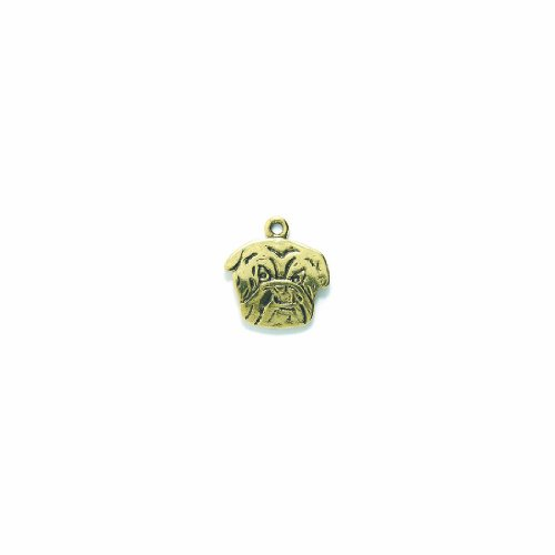 Shipwreck Beads Pewter Bulldog Head Charm, Antique Gold, 18 by 20mm, 4-Piece ()
