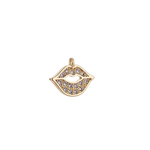 Perfect and Stunning Charms 18K Gold Filled Tiny Cute Lip Smile Kiss Cubic Zirconia Bracelet Necklace Pendant Earring Charm Gift for Woman Jewelry Making ()