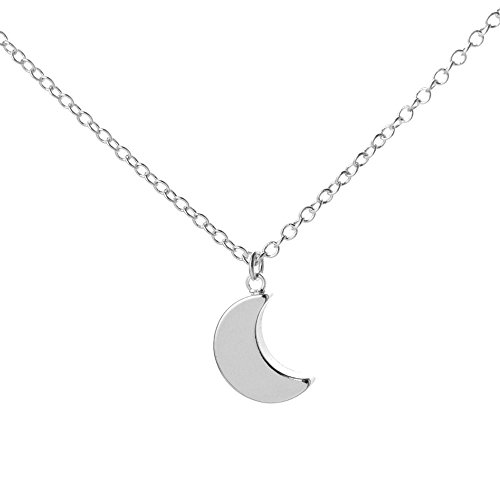 - SENFAI Charm Irish Celtics Moon Necklace Elegant Crescent Moon Necklace Plain Half Moon Pendant Necklaces (Silver)