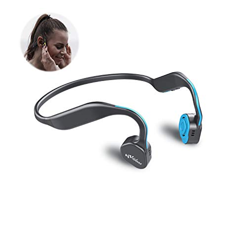 Bone Conduction Headphones Bluetooth V5.0 - Vidonn F1 Sports Open Ear Wireless Headset Sweatproof w/Mic - for Cycling Running Driving Gym - Blue