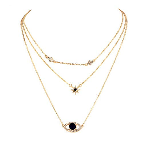 - New Diamond Necklace, Onefa European and American Trend Multi-Layer Diamond New Fashion Wild Necklace Female Jewelry (D)